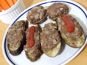 茄子と椎茸の肉詰め