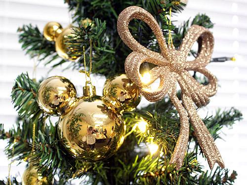 エレガンスゴールドのクリスマスツリー リボンオーナメント