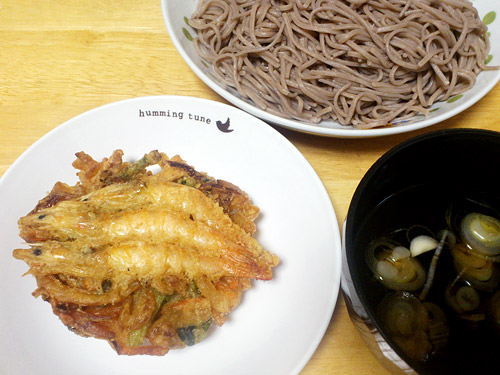 海老かき揚げと蕎麦