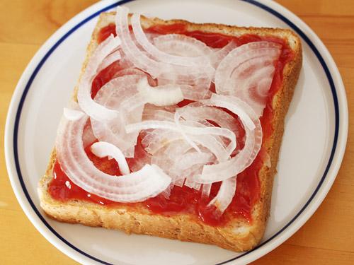 新玉ねぎのピザトースト 作り方