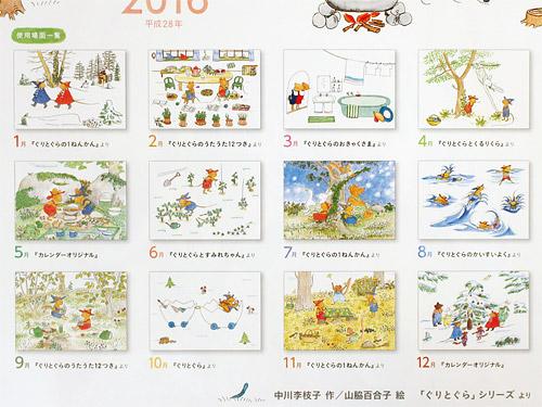ぐりとぐらカレンダー2016 毎月の絵